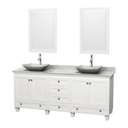 "Wyndham Collection - 80"" Acclaim White Double Vanity w/ White Carrera Top & White Carrera Marble Sink - Sublimely linking traditional and modern design aesthetics, and part of the exclusive Wyndham Collection Designer Series by Christopher Grubb, the Acclaim Vanity is at home in almost every bathroom decor. This solid oak vanity blends the simple lines of traditional design with modern elements like beautiful overmount sinks and brushed chrome hardware, resulting in a timeless piece of bathroom furniture. The Acclaim comes with a White Carrera or Ivory marble counter, a choice of sinks, and matching mirrors. Featuring soft close door hinges and drawer glides, you'll never hear a noisy door again! Meticulously finished with brushed chrome hardware, the attention to detail on this beautiful vanity is second to none and is sure to be envy of your friends and neighbors"