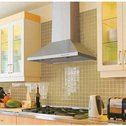 None - Wall-mounted 36-inch Range Hood - Complete your home decor with a stainless steel range hood. This kitchen appliance is quiet and offers high performance with a three-speed push-button control.