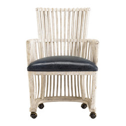 Stanley - Archipelago Windsor Club Chair - The Archipelago Windsor Club Chair exemplifies how to marry a classic timeless style with a Caribbean twist. An antique cobalt blue leather seat offers an airy and open framework to give pleasant experience to the user.