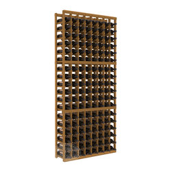 8 Column Standard Cellar Kit in Redwood with Oak Stain - Wooden wine storage available in pine or redwood plus many stain and finish options. The best rack for an intermediate collector. This rack stores up to 12 cases of wine in 18 bottle columns. You'll love it. We guarantee it.