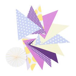 The color loft - Pennant Garland Kit, Purple/Yelow - Festoon your next fete with these fancy flags. This garland kit comes with six feet of twine and a dozen paper pennants in different patterns and color combinations. These make great party (or room) decorations for you or your little ones.