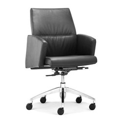Zuo Modern - Low Back Office Chair with Casters in Black - Warranty: One year limited. Made from leatherette and steel. Assembly required. Seat: 20 in. W x 19 in. D x 18.5 in. - 20.5 in. H. Arm height: 24.8 in. - 26.8 in.. Overall: 23.6 in. W x 27.6 in. D x 38.6 in. - 40.6 in. H (42.68 lbs.)