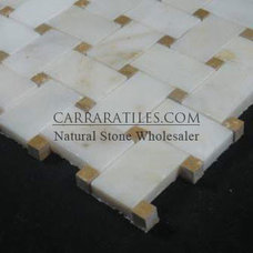 Wall And Floor Tile Afyon Gold Sugar Marble Basketweave Mosaic with Golden Tobacco Dots Polished