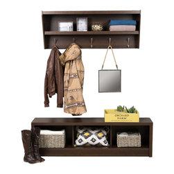 Prepac - Prepac Floating Entryway Shelf with Bench in Espresso - Prepac - Hall Trees - EUXX05001PKG - Prepac Floating Entryway Shelf with Bench in Espresso