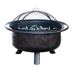 Uniflame - Oil-Rubbed Bronze Finish Firebowl w Dome Scre - Classic scrolled cutouts gives this firebowl added style for any outdoor area. Crafted from solid metal, it's completed with a hand-applied oil rubbed bronze-tone finish. The firebowl also includes a safety-minded dome screen lid to contain wood chips, ash and more. Oil-Rubbed Bronze Finish. Warranty: 1 year - Limited. 40 in. Dia. x 25.2 in. H (44 lbs.)