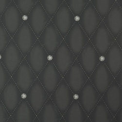 Walls Republic - Beauty Black Wallpaper R1326, double roll - Beauty is a simple triangular pattern with tufted upholstered details. The small stones and fine stitched line imagery make it an elegant choice in a living room or bedroom.