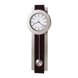 HOWARD MILLER - Howard Miller Bergen Contemporary Wall Clock - This contemporary-styled wall clock features a Merlot Cherry finish which compliments the brushed nickel-finished pendulum, bezel and side bars.