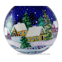 """Blue Christmas"", Stained Glass Technique Christmas Ornaments, Limited Edition - This unique and exclusive stained glass Christmas ball is hand painted with a special glass paint, which lets the light through. This ball would look fantastic on a Christmas tree or as a stand alone ornament. Each ball is hand painted by the artist herself. It is a great gift to an adult or a child! The ball is finished with a protective layer of lacquer."