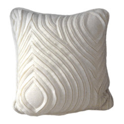 Waves Hand Cut & Embroidered Wool Pillow - hand made: hand cut, fabric manipulated