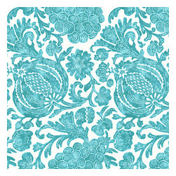 Turquoise Dappled Floral Indoor Outdoor Fabric - Watercolor floral and vine outdoor print in dappled aqua & white works indoors and out.Recover your chair. Upholster a wall. Create a framed piece of art. Sew your own home accent. Whatever your decorating project, Loom's gorgeous, designer fabrics by the yard are up to the challenge!