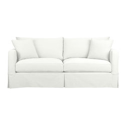 Willow Sofa, Snow - Crisp, white slipcovered furniture is a must when it comes to a beach house or coastal themed home.