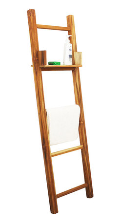 """Kammika - Towel Ladder With Eco Friendly Teak Oil, 18"""" x 64"""" - Our Farmed Teak Towel Ladder 18 inch Length x 64 inch Height with Eco Friendly, Natural, Food-safe Teak Oil Finish is crafted from dense Farmed Teak; water flows off easily. The adjustable shelf can be easily be picked up and placed on any of the rungs. This versatile eco friendly functional art item can be used as a towel or pants rack in the dressing room with the shelf for your pocket articles. Easily moved from space to space, you could alternately use in the garden area as a trellis with a storage shelf for your gardening hand tools. Shipped with a light coat of Teak oil that may be renewed or allowed to fade to a silver grey while maintaining its strength. You can use these hand crafted wood doweled pieces to set up an indoor or outdoor shower or bathing area. Eco Friendly Teak Oil finish creates a highly water resistant finish. All are made with sustainable wood Farmed Teak from the Thai Royal Forestry Department. Farming Teak was introduced by Thai royal decree in the 1950s. At the same time, all old growth Teak was declared property of the Thai Crown, and could not be harvested without permission, no matter on what land it was growing. We make minimal use of electric hand sanders in the finishing process. All products are dried in solar kilns and or propane kilns. No chemicals are used in the process, ever. Each piece is kiln dried, sanded, and hand rubbed with eco friendly all natural Teak Oil; they are then packaged with cartons from recycled cardboard with no plastic or other fillers. As this is a natural product, the color and grain of your stool will be completely unique, and may include small checks or cracks that occur when the wood is dried. Sizes are approximate. Products could have visible marks from tools used, patches from small repairs, knot holes, natural inclusions, and/or worm holes. There may be various separations or cracks on your piece when it arrives. There may be some sligh"""
