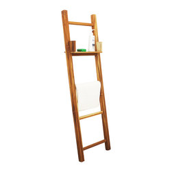 Kammika - Towel Ladder Farmed Teak  Hand Doweled 18 W x 64 inch Ht w Eco Friendly Teak Oil - Our Farmed Teak Towel Ladder 18 inch Length x 64 inch Height with Eco Friendly, Natural, Food-safe Teak Oil Finish is crafted from dense Farmed Teak; water flows off easily. The adjustable shelf can be easily be picked up and placed on any of the rungs. This versatile eco friendly functional art item can be used as a towel or pants rack in the dressing room with the shelf for your pocket articles. Easily moved from space to space, you could alternately use in the garden area as a trellis with a storage shelf for your gardening hand tools. Shipped with a light coat of Teak oil that may be renewed or allowed to fade to a silver grey while maintaining its strength. You can use these hand crafted wood doweled pieces to set up an indoor or outdoor shower or bathing area. Eco Friendly Teak Oil finish creates a highly water resistant finish. All are made with sustainable wood Farmed Teak from the Thai Royal Forestry Department. Farming Teak was introduced by Thai royal decree in the 1950s. At the same time, all old growth Teak was declared property of the Thai Crown, and could not be harvested without permission, no matter on what land it was growing. We make minimal use of electric hand sanders in the finishing process. All products are dried in solar kilns and or propane kilns. No chemicals are used in the process, ever. Each piece is kiln dried, sanded, and hand rubbed with eco friendly all natural Teak Oil; they are then packaged with cartons from recycled cardboard with no plastic or other fillers. As this is a natural product, the color and grain of your stool will be completely unique, and may include small checks or cracks that occur when the wood is dried. Sizes are approximate. Products could have visible marks from tools used, patches from small repairs, knot holes, natural inclusions, and/or worm holes. There may be various separations or cracks on your piece when it arrives. There may be some slight variation in size, color, texture, and finish color.Only listed product included.