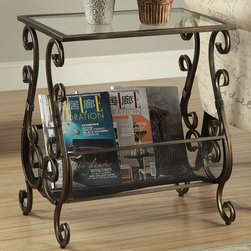 Monarch - Brushed Gold Metal Magazine Table With A Tempered Glass - This elegant magazine table is both stylish and multi-functional. It features an intricate weaved metal rack with curved bars and metal mesh to hold your magazines and a tempered glass top where you can place your coffee cup as you read the latest novel. With its sturdy antique gold metal base, this piece is one of a kind.