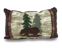 Zeckos - Super Soft Fleece and Vinyl Primitive Bear Accent Pillow - This wonderful fleece, tweed and vinyl throw pillow adds a beautiful, primitive accent to any room. Measuring 16 inches by 10 inches, it features a patch sewn image of a bear in the forest, with trees in the background. Tweed and vinyl sides, as well as tweed edging, complement the homemade look of the pillow. It perfect for country homes, cabins and hunting lodges.