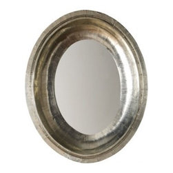 Royal German Silver Mirror | Pulp Home - Hammered german silver oval mirror with tiny delicate silver nails is perfect for a bathroom vanity, bedroom, or entry.