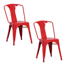 Buffalo Tools - AmeriHome 2 Piece Metal Dining Chair Set - Red - 2 Piece Metal Dining Chair Set - Red by AmeriHome This AmeriHome Metal Dining Chair Set in Red is durable enough for use in the shop, and stylish enough to use in the kitchen, game room, bar, basement, dorm room, or loft. The Dining Chairs have a modern, industrial style, with clean lines and a simple elegance, which will look great in the dining room or on the patio. The chairs arrive fully assembled, so they are ready to use as soon as they arrive. Lightweight and sturdy, each chair weighs only 12 lbs., but is strong enough to hold up to 530 lbs. Each Metal Dining Chair has a brace under the seat that provides additional support and stability. No-mar rubber feet keep them from sliding and scratching hardwood floors. The Dining Chairs are painted a glossy red with a scratch-resistant powder coat paint finish. Each Dining Chair stands 30.75 inches tall with a seat height of 17.5 inches from the floor. Sold in a set of 2. Industrial, modern look for kitchen, dorm or shop  Scratch-resistant powder coated paint finish  Easily stacks for convenient storage X-brace support under the seat for stability and durability Overall size: 17 in. W x 21 in. D x 30.75 in. H Seat height: 17.5 in., seat size: 14 in. W x 16 in. D Rubber feet prevent scratches on floors Weight Capacity: 530 lbs., each chair weighs 12 lbs. Sold in a set of 2