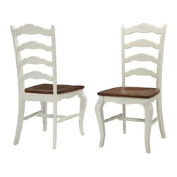 HomeStyles - Oak and Rubbed White Dining Chair Pair - Includes 2 chairs. The dining chair pair is constructed of hardwood solids in a distressed oak and heavily rubbed white finish. The distressed oak features several distressing techniques such as worm holes, fly specking, and small indentations. Features include a contoured seat for comfort. Packed two per carton. Assembly required. 18.75 in. W x 21.5 in. D x 40 in. H