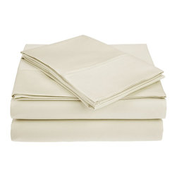 """450 Thread Count Supima Cotton Sheet Set - Queen - Ivory - These Supima cotton sheets feature a 450 thread count and are available in 7 different colors. Set includes: (1) Flat 90x102"""", (1) Fitted 60x80"""", and (2) Pillowcases 20x30""""."""