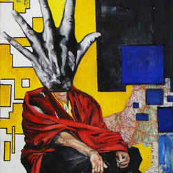 """""""HandFace"""" Artwork - Mixed media includes collaged on map pieces, sheet music pieces, ink, acrylic paint, and oil paint."""