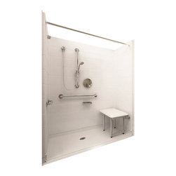 """Ella's Bubbles - Ella Deluxe Barrier Free, Roll In Shower 60""""W x 33""""D x 78""""H, Center Drain - The Ella Deluxe, (5-Piece) 60 in. x 33 in. Roll in Shower is manufactured using premium marine grade gel coat fiberglass which creates a smooth, beautiful, long lasting surface with anti-slip textured shower base floor. Ella Deluxe Barrier Free Shower walls are reinforced with wood and steel providing flexibility for seat and grab bar installation at needed height for any size bather. The integral self-locking aluminum Pin and Slot System allows the shower walls and the pre-leveled shower base to be conveniently installed from the front. Premium quality material, no need for drywall or extra studs for fixture support, 30 Year Limited Lifetime Warranty (on shower panels) and ease of installation make Ella Barrier Free Showers the best option in the industry for your bathtub replacement or modification needs."""