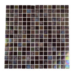 """Plum Brule Glass Tiles - Plum Brule 3/4"""" x 3/4"""" Glass Tile This stunning blend of shades of purple and iridescent in this opaque finished tile will give any room a dramatic statement. The glass pieces are mounted to a mesh backing making installation simple. The translucent character of each glass piece in combination with the colored background creates depth and luminescene in any setting. The color is painted on the back of the glass tile adn you don't have to worry about scratching or chipping the colors off. Chip Size: 3/4"""" x 3/4"""" Color: Shades of Purple and Iridescent Material: Glass Finish: Stained Sold by the Sheet - each sheet measures 13""""x13"""" (1.17sq. ft.) Thickness: 5mm Please note each lot will vary from the next."""