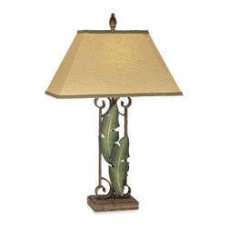 Pacific Coast Lighting Banana Leaves Table Lamp - Add this pretty banana leaf table lamp to the scene. I would place it in my living room on a small side table or even on my nightstand.