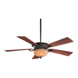 Minka Aire Fans - 52-Inch Ceiling Fan with Five-Blades and Light Kit - F701-DRB - This ceiling fan features a dark restoration bronze motor with an integrated uplight and halogen downlight. The uplight includes six candelabra bulbs and the rustic scavo glass downlight includes two mini-can halogen bulbs. Five dark walnut blades and 3-1/2-inch and 6-inch downrods are included. The fan speed, direction and both lights are controlled by the included wall mounted control. Integrated sloped ceiling adapter also included. Takes (6) 15-watt incandescent Flame bulb(s). Bulb(s) sold separately. Dry location rated.