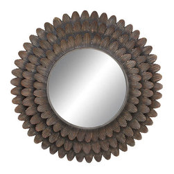 "Benzara - Wall Accent Metal Mirror 34""D - Size: 34"" D Material: Metal and Glass"