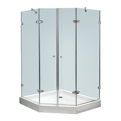 Vigo - Vigo 42 1/8 x 42 1/8 Frameless Neo-Angle 3/8in.  Clear/Chrome Shower Enclosure w - Both dramatic and space-saving, the Vigo frameless neo-angle shower enclosure creates a beautiful focal point for your bathroom.