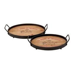 "Benzara - Designed Wood Metal Tray with Metallic Rod - Set of 2 - Designed Wood Metal Tray with Metallic Rod - Set of 2. Flaunting classic looks and an enduring construction, these wood metal trays helps you host big celebratory occasions. It comes with the following dimensions 18"" W x 13"" D x 3"" H."