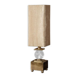 Uttermost - Uttermost Miscellaneous Table Lamp in Coffee Bronze - Shown in picture: Coffee Bronze Plated Metal Accented With A Crystal Ball. Coffee bronze plated metal accented with a crystal ball. The square - hardback shade is a silken - golden taupe - crushed fabric.