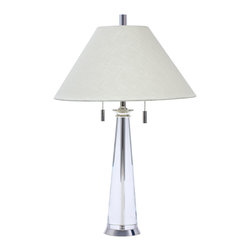 House of Troy - House Of Troy Polished Silver And Round Tapered Crystal Table Lamp - House of Troy Polished Silver and Round Tapered Crystal Table Lamp