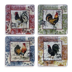 """Certified International - Certified International Lille Rooster 10 -Inch Square Dinner Plates in (Set of 4 - Give your table a unique look with these hand-painted rooster dinner plates. Each plate is different, featuring unique, vintage styling and beautiful colors that will leave a lasting impression. Includes four 10 1/2""""-dia. dinner plates."""