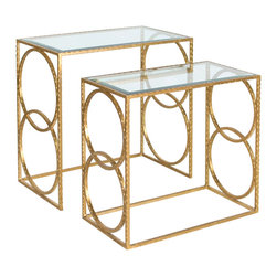 Worlds Away - Worlds Away Hammered Nesting Tables in Gold Leaf Set of 2 LEE G - Worlds Away Hammered Nesting Tables in Gold Leaf�Set of 2 LEE G