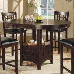 Coaster - Counter Height Table in Cappuccino - The 42 round pub dining set with storage base with a sunburst veneer top comes with an 18 leaf in a dark cappuccino finish.