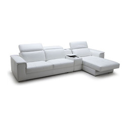 Contemporary Leather Sectional Sofas with iPhone Dock & Speaker - Features: