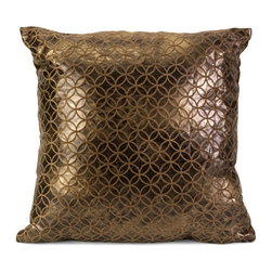 Bronze Lattice Pillow - Give your room an upgrade with this throw pillow adorned in luxury and texture. A petite lattice pattern contrasts with a gleaming, chocolatey metallic background for understated glamor.