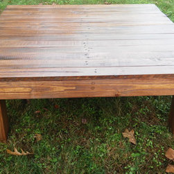 The Big Boy Rich Walnut Reclaimed Wood Coffee Table - We call this table The Big Boy because it is oversized and perfect for a large room. The super rich Dark Walnut water-base stain is the color of chocolate - we also call it the chocolate table because the color looks so yummy!