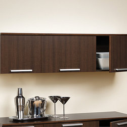 Prepac - Yaletown Espresso Wall-mounted Hutch - Increase your storage capacity and get organized with this wooden wall-mounted hutch that is ideally designed for the home bar area. This well-built hutch features three inset doors that can keep glasses and other bar ware within easy reach.