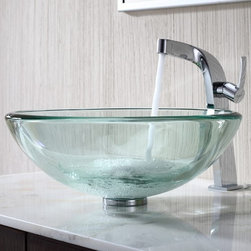 Kraus - Kraus Clear 19mm thick Glass Vessel Sink with Typhon Faucet - Add a touch of elegance to your bathroom with a glass sink combo from Kraus.