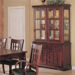 Coaster Newhouse Buffet and Hutch China Cabinet in Cherry Finish
