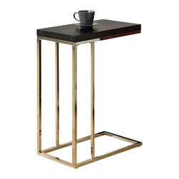 Monarch Specialties - Monarch Specialties 3007 Rectangular Accent Table in Chrome and Cappuccino - What a convenient way to eat or drink on your couch! This beautiful cappuccino finished hollow-core accent table is has sufficient space for you to place your snacks, drinks and even meals. Its chromed metal base provides sturdy support along with a fashionable touch that will suit any decor.