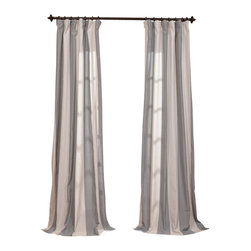 "Exclusive Fabrics & Furnishings - Del Mar Gray Linen Blend Stripe Curtain - 5% Linen & 95% Polyester Blend. 3"" Pole Pocket with Hook Belt & Back Tabs. Unlined . Imported. Weighted Hem. Dry Clean Only."