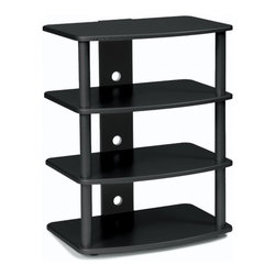 """Plateau - SF Series Audio / Video Rack - The SF Series stand offers style, form and functionality to any audio / video system.Features include gently contoured and shaped shelves that are available in a natural black oak wood. All models contain a built in wire management system, and the heavy gauge 1 1/2'' [ 38mm ] steel posts are available in a baked powder-coated finish. Assembly takes less than 10 minutes. Features: -Heavy gauge 1 1/2'' steel tubes.-Four modern oak shelves.-Built-in wire management.-Product Care: To clean, use Windex.-Solid Wood Construction: No.-Adjustable Shelving: No.-Scratch Resistant Shelves: Yes.-Cloth Back Detail: No.-Handle Material: N/A.-Glass Design Detail: N/A.-Multimedia Storage: Yes.-Casters: No.-Sand Lead Fillable: Yes.-Stabilizer Feet: No.-Ventilation Thermal Management: Open concept.-Lighted: No.-Distressed: No.-Collection: SF Series.-Hardware Included: Yes.-Weight Capacity: 300 lbs.-Shelf Weight Capacity: 60 lbs.Dimensions: -Assembled Dimensions Height: 30"""".-Assembled Dimensions Width: 23"""".-Assembled Dimensions Depth: 15.5"""".-Shelf Depth: 15.5"""".-Shelf Width: 19"""".-Open Storage Area Height: 8.75"""".-Open Storage Area Width: 19"""".-Open Storage Area Depth: 15.5"""".-Assembled Weight: 40 lbs.Assembly: -Assembly Type: Assembly Required.Warranty: -Product Warranty: 90 days."""