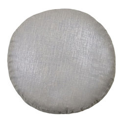 "Mystic Valley - Mystic Valley Traders Radiance Steel - 18"" Pancake Pillow - The Radiance Steel 18"" Pancake pillow is fashioned from the Glimmer Steel fabric on each side, and finished with a clean edge; 18"" diameter."