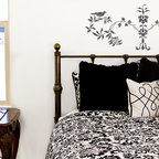 Pompeii Berries Stencil - Pompeii Berries Wall Stencil from Royal Design Studio. This classic Italian design of birds, berries and leaves makes a great accent wall above a bed, but it could also be used on fabric for pillows or on a backsplash in a kitchen or behind a stove.