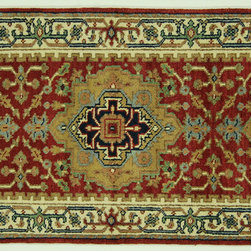 Manhattan Rugs - 3'x8' Fire Brick Red/Ivory Heriz Serapi Runner Hand Knotted Wool Area Rug H6681 - Heriz is situated in the northwestern part of Iran (Persia).  Though the term covers Hand knotted rugs of numerous small villages in the area, the most beautiful Rugs were woven in Heriz itself For the last 100 years, the Heriz carpet designs have basically remained the same, with only small variations in color pallets and density of the design. The late 19th Century Rug (so called Serapis) was of fewer details and softer colors and with time designs became denser with added jewel tone color pallets. The revival of the carpet industry in the late 19th Century was based on the demand of the Western markets, with America in particular. Weavers in Heriz hand knotted were asked to make carpets inspired by the Fereghan Sarouks of higher cost for consumers of more limited budgets. Even though Sarouk carpets changed style later on, Heriz weavers stayed with the geometric pattern till now.  However, Heriz was also a center of production of some of the best handmade carpets with both geometric and curvilinear floral patterns.  A special heirloom wash produces the subtle color variations that give rugs their distinctive antique look.