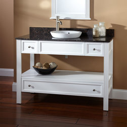 "48"" Milforde Console Vanity for Semi-Recessed Sink - This large contemporary console vanity features the vanity base with an open shelf. A lower drawer on the Milforde offers another storage option for your bath accessories."