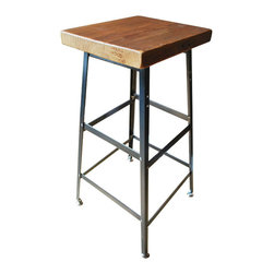 """Reclaimed Wood Bar/Counter Stool - You really can't go wrong with this stool. Inspired by modern industrial chic (but with a touch of rustic charm), this timeless chair is built from 100+ year old floor boards that were salvaged and put to new use. Available in 18"""", counter height, and bar height."""